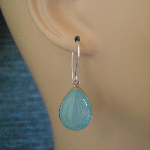 Buy Aqua Tear Drop Earrings Aqua Blue Chalcedony Silver