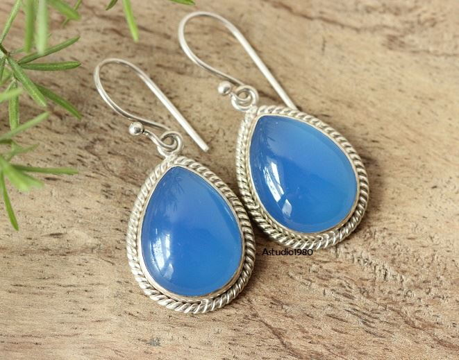 Artisan Bridal earrings Blue gemstone