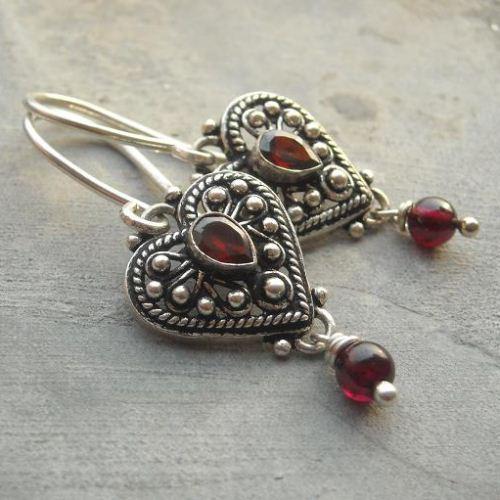 Ethnic Garnet Heart Sterling Silver Gemstone Earrings Online At Astudio1980