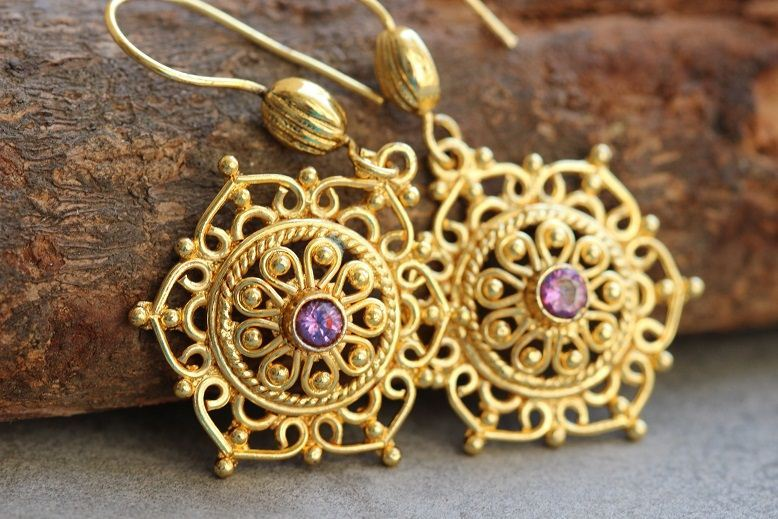 Artisan Gold snowflake amethyst earrings