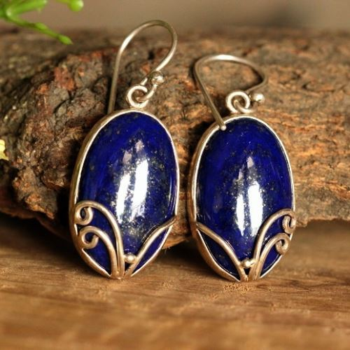 Blue Lapis Cabochon Earrings 925 Sterling Silver Fish Hook