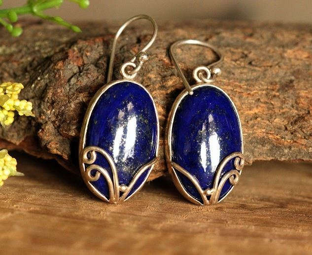 Blue Lapis Cabochon Earrings 925 Sterling Silver Fish Hook Online At Astudio1980