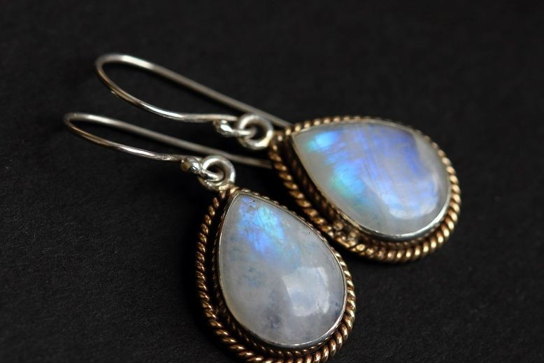 Rainbow Moonstone Earrings Dual Tone 18k Gold Silver Online At Astudio1980
