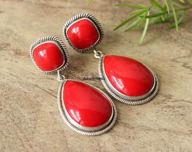 Artisan Red Coral earrings Coral