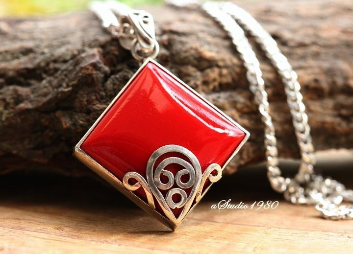 Artisan silver pendants Red coral