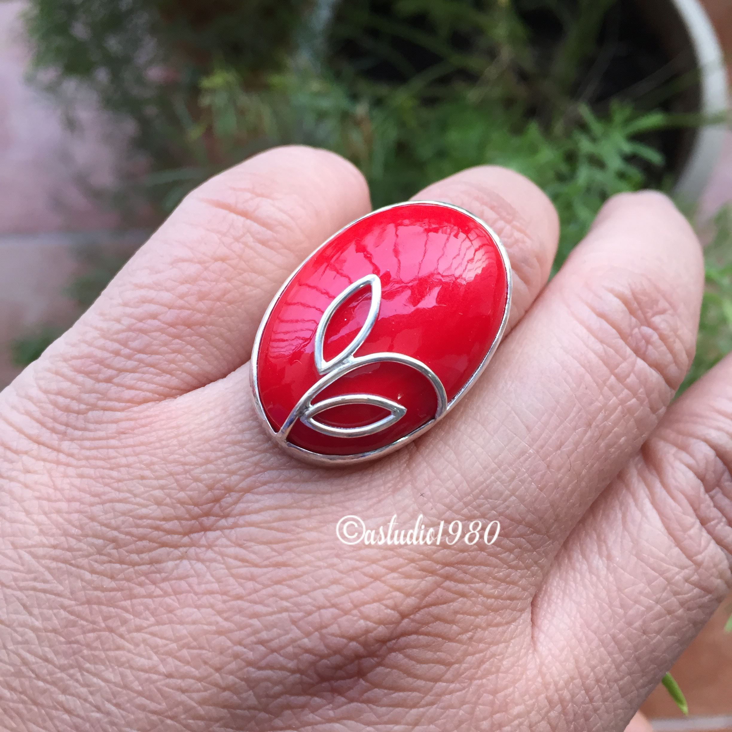 Artisan red coral ring Oval