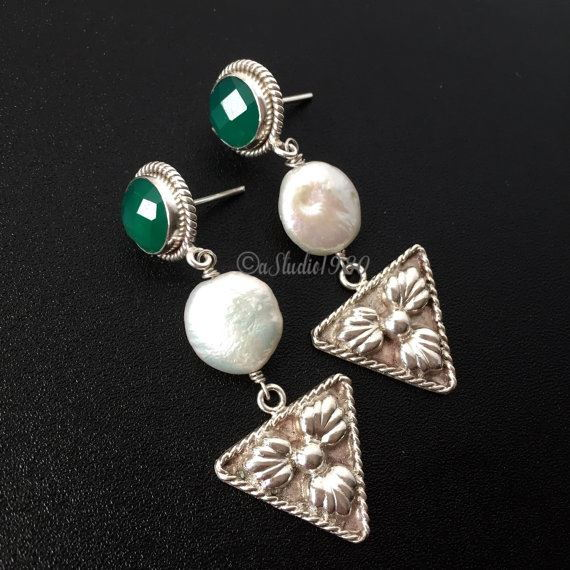 Artisan handmade green onyx earrings