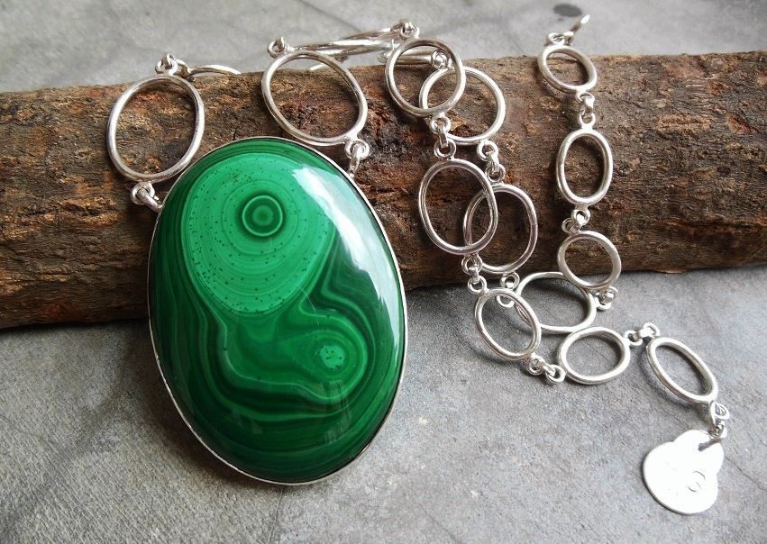 Artisan necklace Statement malachite pendant