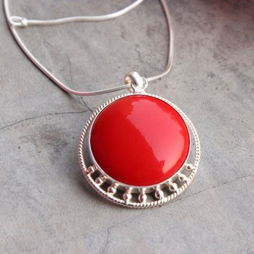Handmade red coral sterling silver