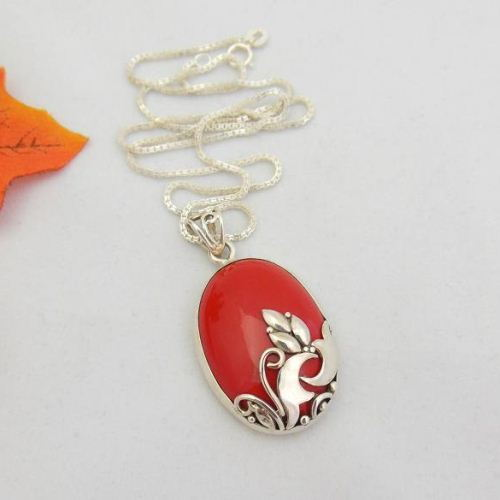 slp natural silver pendant sterling teardrop bamboo chain necklace coral com inlay sea red amazon