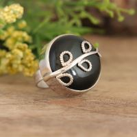 Artisan statement Obsidian sterling silver ring bezel leaf ring