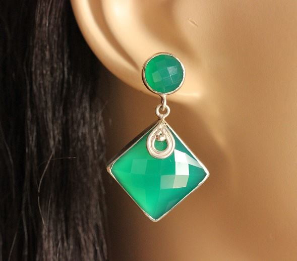 Statement Jewelry Earrings Faceted Green Onyx Silver Online At Astudio1980