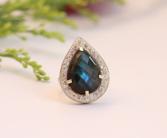 Artisan statement ring Labradorite ring