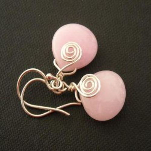 Baby pink sterling silver wire wrapped earrings