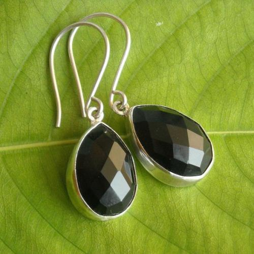 Black Onyx Earrings Tear Drop Silver Faceted Stone