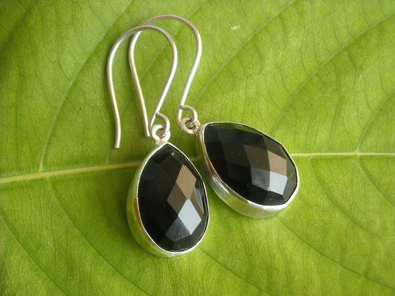 Black Onyx Earrings Tear Drop Silver Faceted Stone Online At Astudio1980