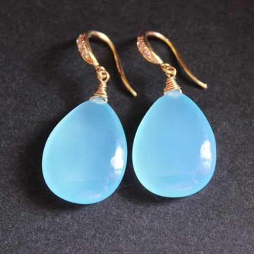 Blue Chalcedony Earrings Drop
