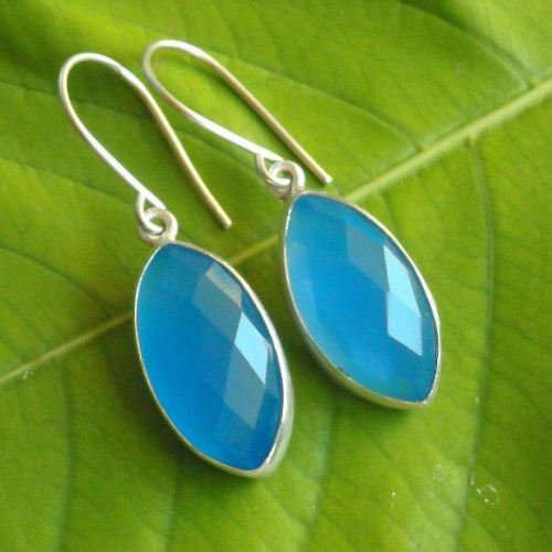 Blue Chalcedony Earrings sterling silver