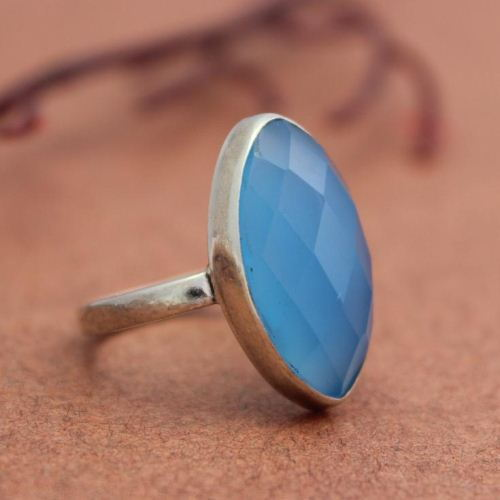 Blue Chalcedony Ring Marquise Cut