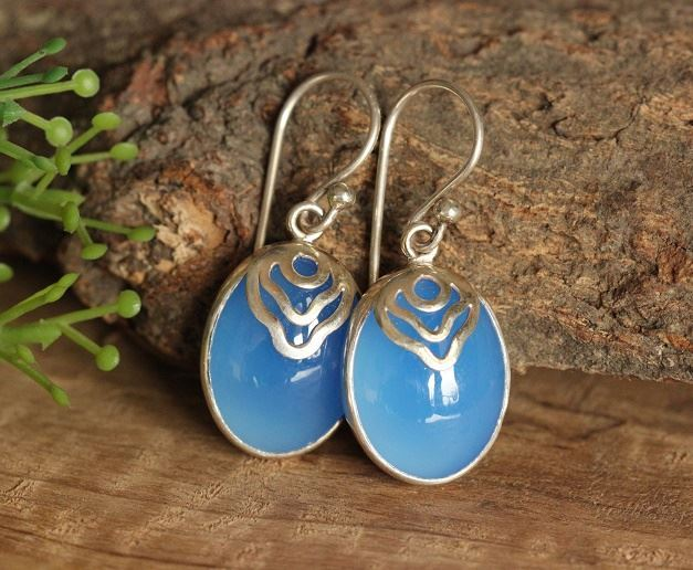 Artisan blue chalcedony earrings in