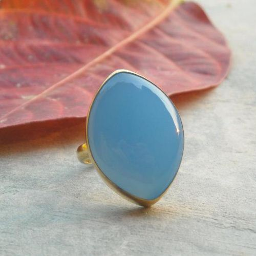 Blue Chalcedony ring Vermeil ring