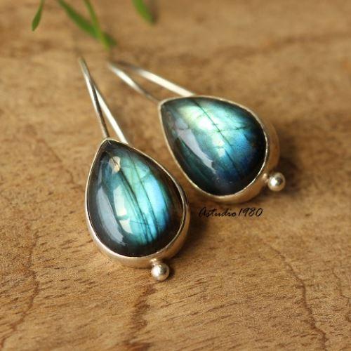 Blue Labradorite Gemstone Earrings Handmade Sterling Silver