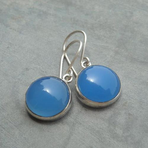 Blue chalcedony earrings hook earrings