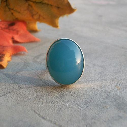Blue chalcedony ring 925 sterling