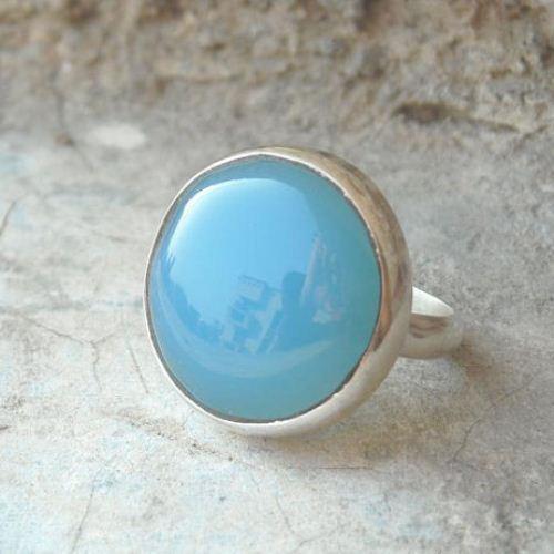 Buy Blue Chalcedony Ring Artisan Ring Silver Handmade