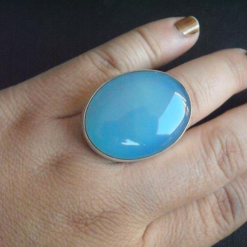 Blue chalcedony ring oval gemstone