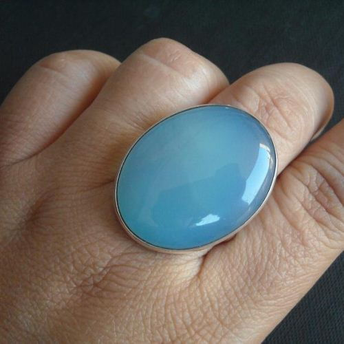 Buy Blue Chalcedony Ring Oval Gemstone Handmade Silver Ring Online At Astudio1980 Com