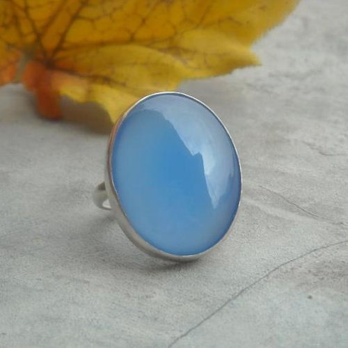 Blue chalcedony ring sterling silver