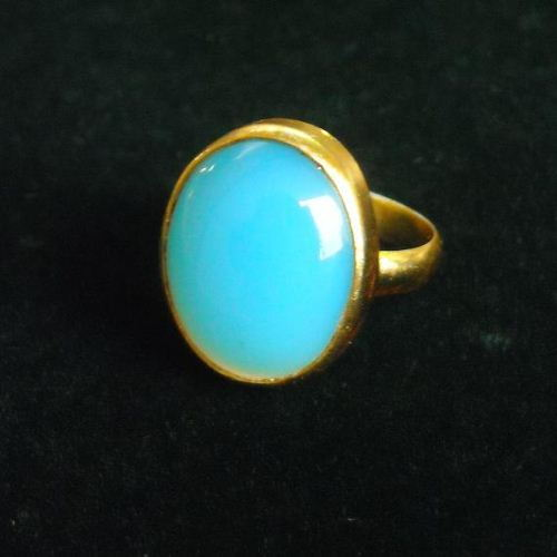 Buy Blue Chalcedony Ring Vermeil Ring Gold Ring Oval