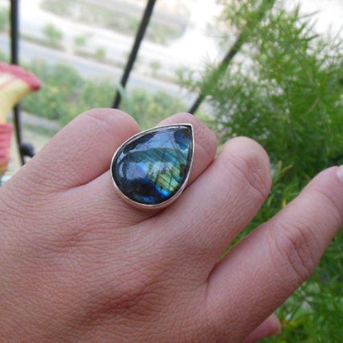 Buy Blue Labradorite Sterling Silver Ring Tear Drop