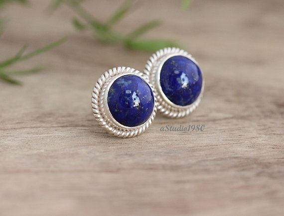 gold platinum silver earrings moonstone or large blue stud