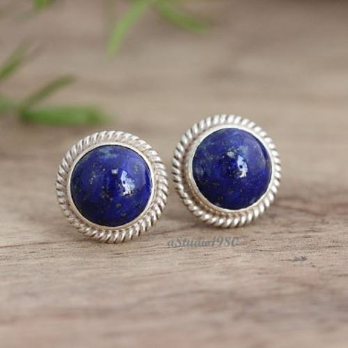 silver cb dyed gemstone stud lapis bling jewelry unisex round earrings sterling az ball earring