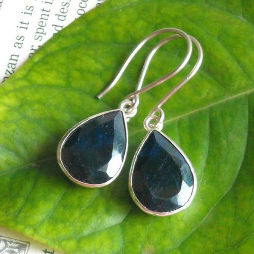 Blue sapphire earrings Faceted tear