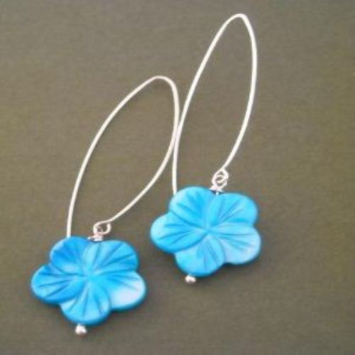 Blue sky sterling silver carved mother of pearl flower earrings