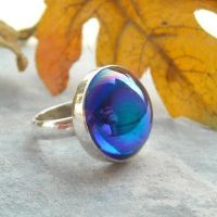 Blue vintage cab ring - Sapphire color ring - Glass silver ring