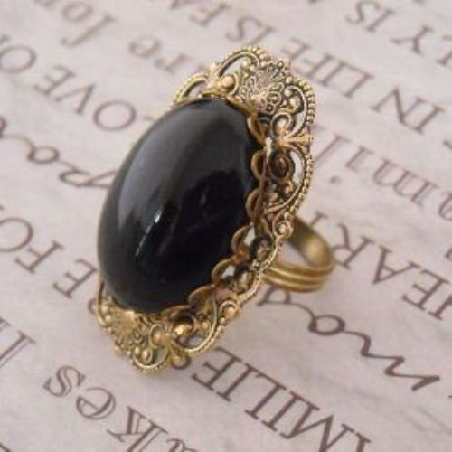 Bold Victorian Style Vintage brass black CAB adjustable filigree Cocktail ring