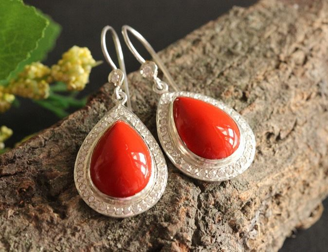 Bridal Coral earings Artisan Earrings