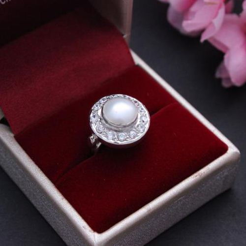 Buy Bridal Pearl Ring sterling silver artisan ring June