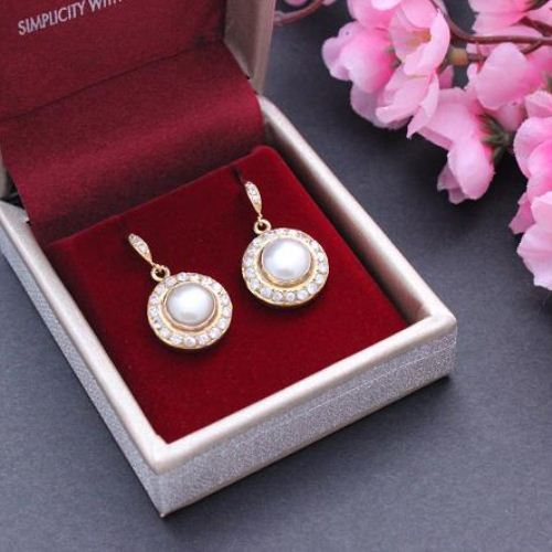 Bridal Pearl earrings Gold pearl