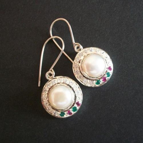 Bridal Pearl earrings birthstone ruby