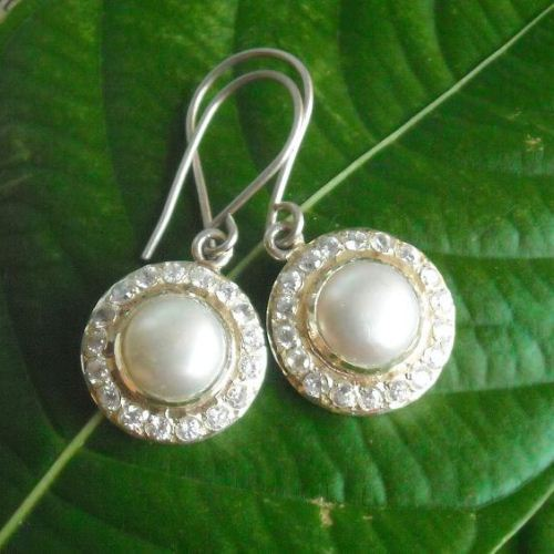 Bridal Pearl earrings sterling silver