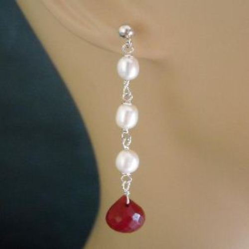 Bridal Pearl ruby post sterling Silver earrings