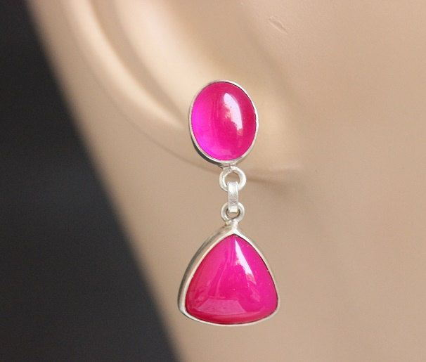 Bridal Pink Earrings Chalcedony Triangle Oval Silver Online At Astudio1980