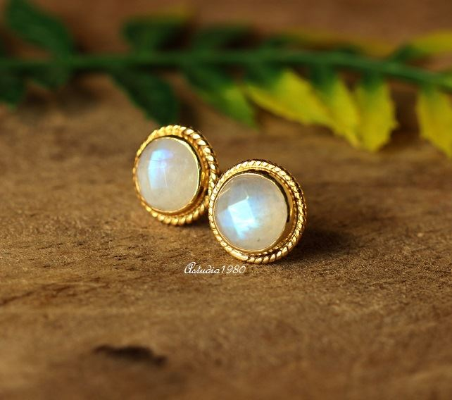 Excellent Buy Bridal Rainbow moonstone 18K Gold moonstone Earrings studs  KS15