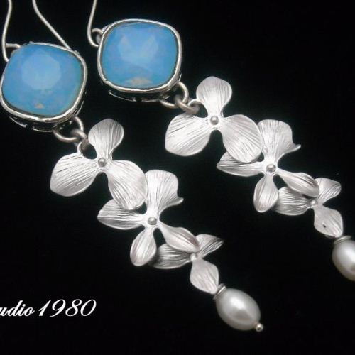 Bridal earrings Blue Opal earrings