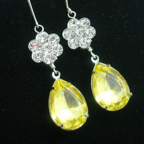 Bridal Earrings Canary Yellow Swarovski Crystal Jewelry Wedding